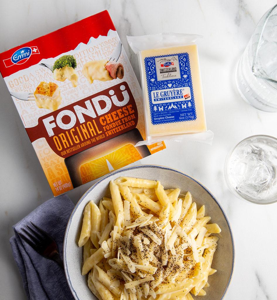 Fondue mac and cheese with Gruyere