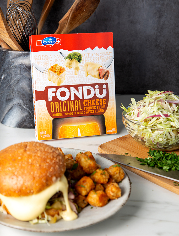 Fondue Burger with Pickle Slaw